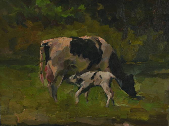 Drinking milk 30x40 cm oil on canvas