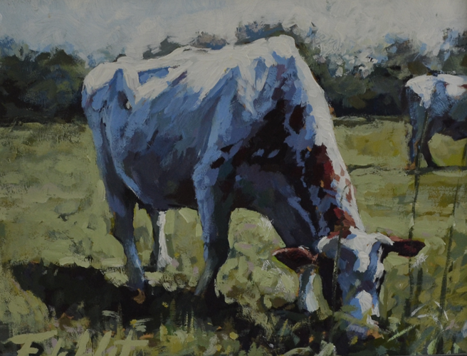 2 cows 30x40 cm acrylic on panel