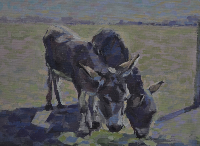 2 grey donkeys 20x28cm acrylics on canvas
