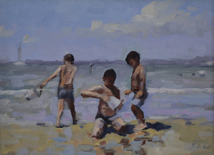 Children playing with white bucket 20x28 cm Oil on Canvas