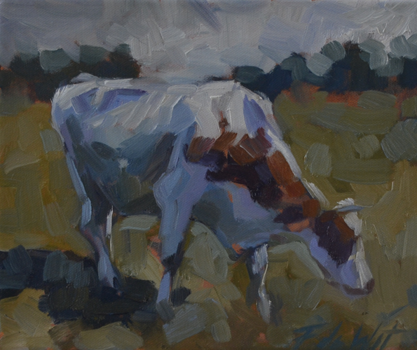 Cow on its way 25x30 cm Oil on canvas
