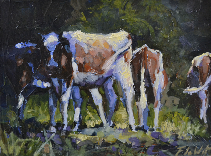 Cows in the shade 30x40 cm Oil on canvas