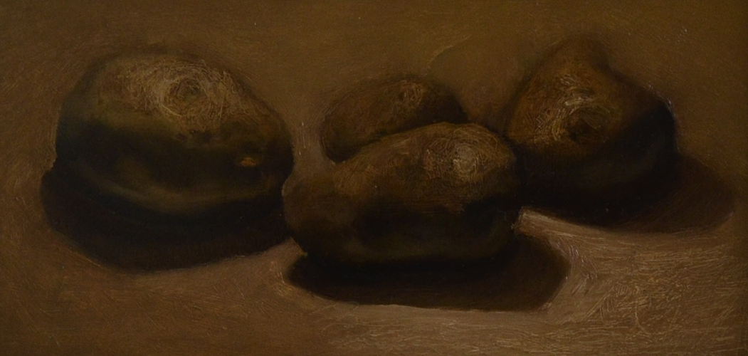 Frank de Wit Damn I love petatoes 13x26 cm oil on canvas