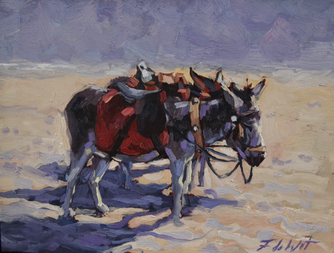 Donkeys 30x40 cm Oil on canvas