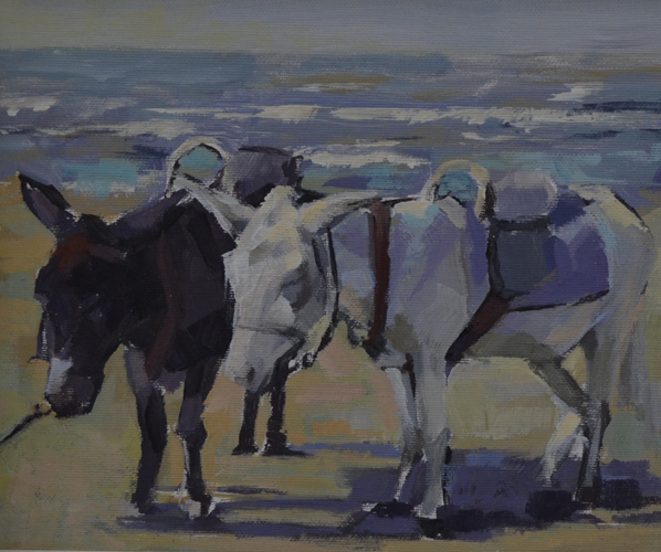 Donkeys at the beach 21x26 cm Acrylic on canvas