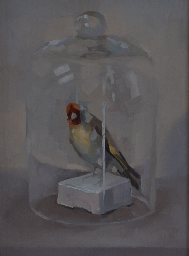 Goldfinch Glass Bowl 22x30 cm Oil on canvas