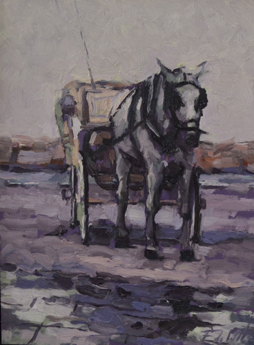 Horse in Chania 30x40 cm Oil on Panel