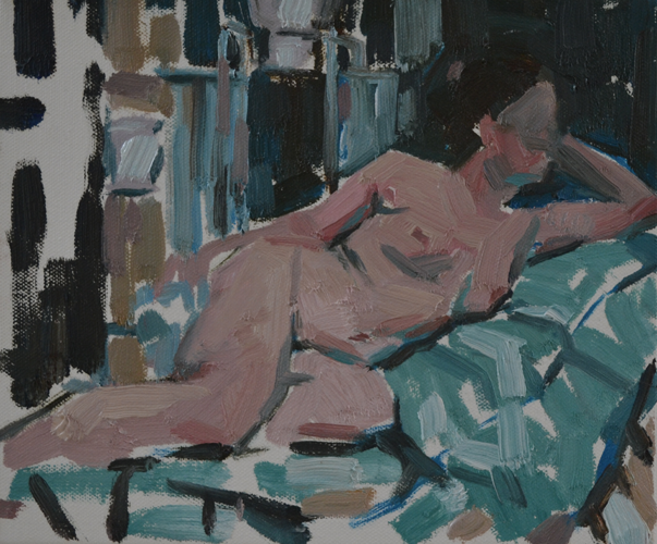Nude painting blue 25x30 cm Oil on Canvas