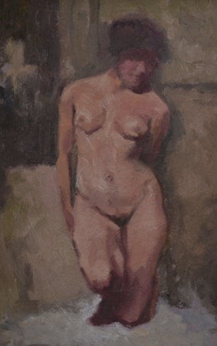 Nude painting knee 20x30cm oil on panel