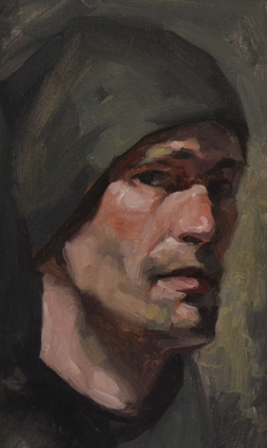 Self portrait with hat 24x28 cm Oil on canvas