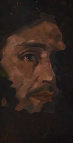 Selfportrait 15x30 cm Oil on Panel