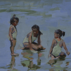 Three girls in green 20x28 cm Oil on Canvas